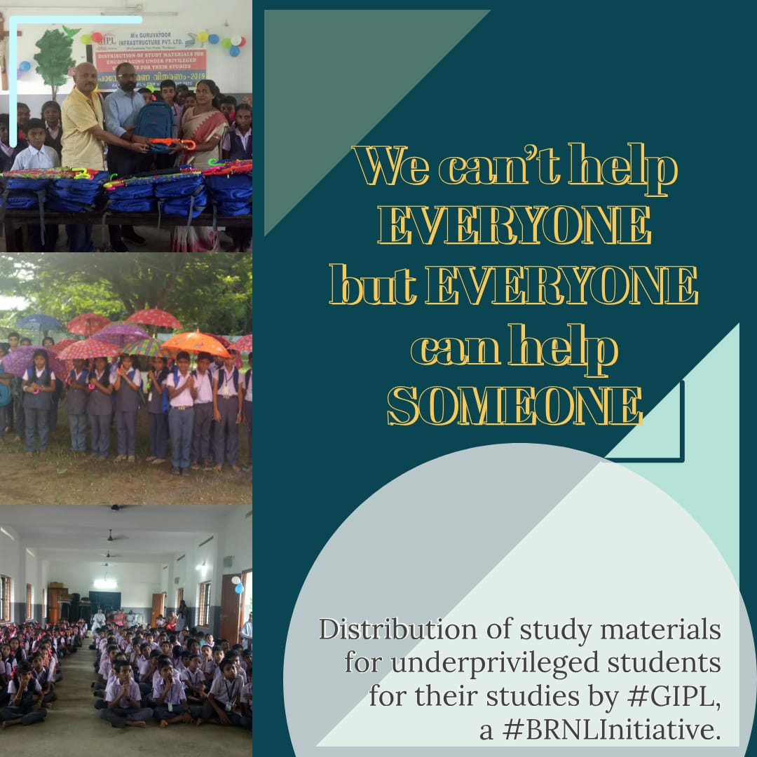 Distribution of study materials for underprivileged childrens for their studies by GIPL, a BRNL Initiative